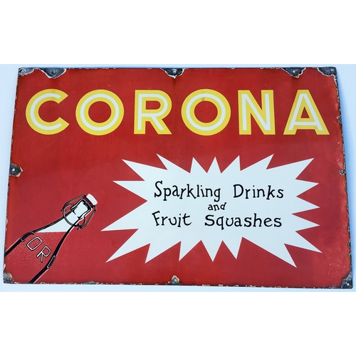 1 - CORONA ENAMEL SIGN. 20 x 30.25ins. A somewhat appropriate sign to kickstart the auction! Simple stri...
