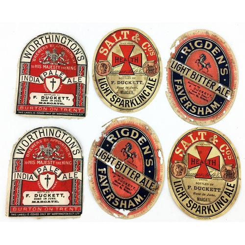 10 - MARGATE BEER LABELS. Tallest 3.6ins. Group of thin paper labels from F Duckett/ Rose in June/ Margat...