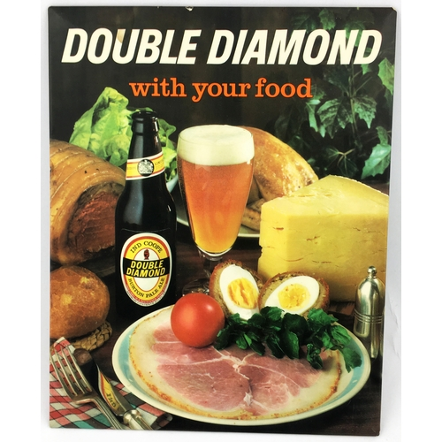 11 - DOUBLE DIAMOND ENCAPSULATED TIN ON CARD STAND UP COUNTER TOP SIGN. 10 x 8ins.Multicoloured image of ...