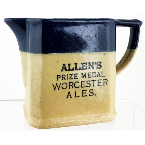 20 - WORCESTER WATER JUG. 4ins tall. Rectangular stoneware jug with dark blue top, lower light tan, black...