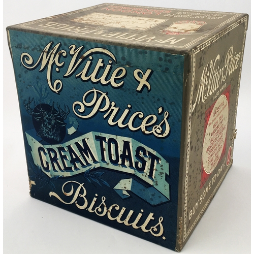 21 - McVITIE & PRICES BISCUITS DISPLAY TIN. 9.7ins tall. Cube shaped shop display tin with paper labels t...