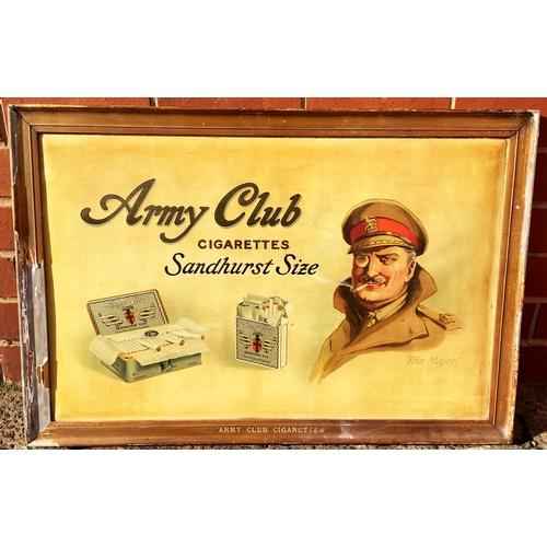 24 - ARMY CLUB FRAMED SHOWCARD. 30.4 x 20.4ins. An impressive large size pub or shop inside advertising p...