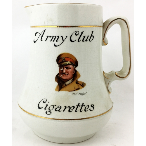 25 - ARMY CLUB CIGARETTES BAR TOP JUG. 6.2ins tall. Multicoloured transfer of the smoking soldier pictori...