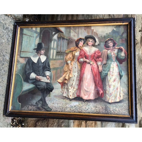 27 - PEARS PERIOD STREE SCENE POSTER. 25.2 x 20ins. Very detailed print featuring dapperly dressed gent w...