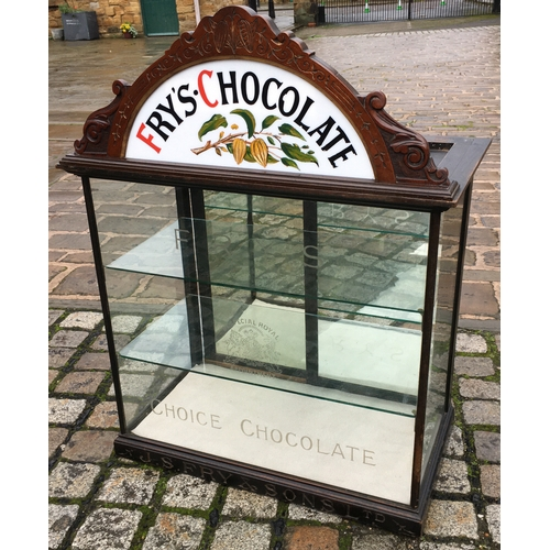 30 - FRYS CHOCOLATE DISPLAY CABINET. 36.5 ins tall x 28 wide, 15.25 deep. Milk glass painted insert (repl...