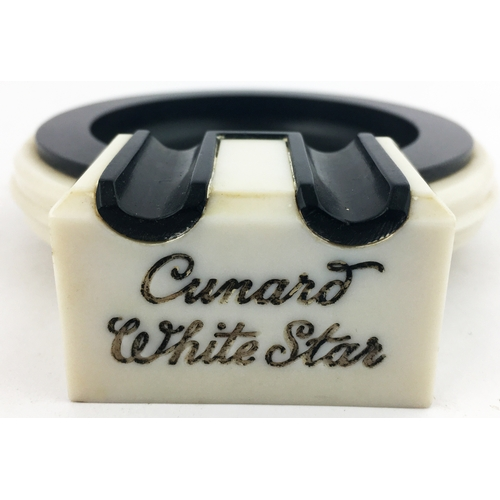 32 - CUNARD WHITE STAR ASHTRAY. 4.6ins long. Very stylish/ period off white & black early Bakelite ashtra...