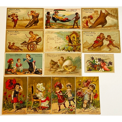 37 - AMERICAN SHOE RELATED TRADE CARDS. 7 for C Burt/ Fine Shoes/ New York, 4 for Forepaugh & Tarbox/ Boo...