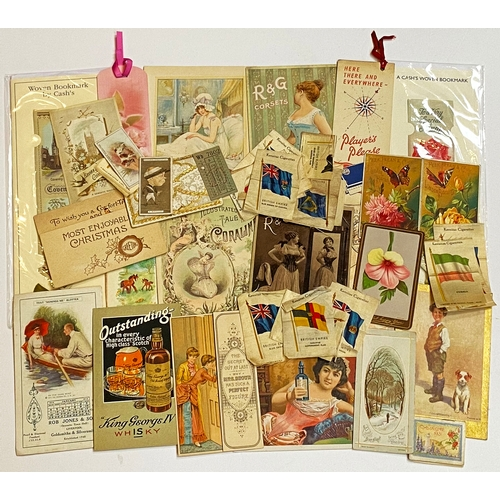 39 - ADVERTISING EPHEMERA & SILKS MIXED. Ranging from corsets to hard drink, calendar, a pop up Christmas...