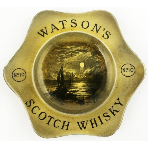41 - WATSONS No 10 SCOTCH WHISKY DISH. 7.1ins wide. The largest of the three whisky dishes featuring a bo...