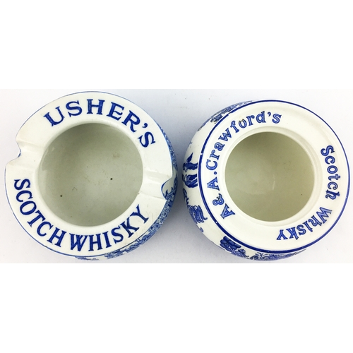 44 - USHERS SCOTCH WHISKY & A & A CRAWFORS SCOTCH WHISKY ASHTRAY DISHES. 4ins diam. Both with blue & whit...