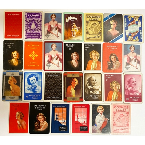 45 - ADVERTISING PLAYING CARDS WITH A COSMOS LAMPS THEM. Cosmos, Metrovick & Mazda trade names - most fea...