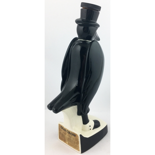 46 - OLD CROW WHISKY DECANTER. 13.5ins tall. Amusing dapperly dressed figural crow, stopper in hat. Royal...