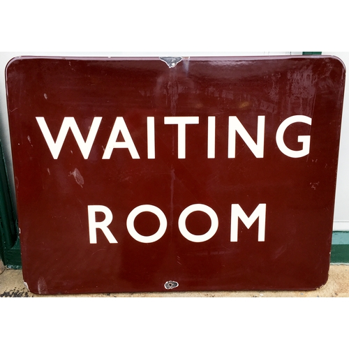 50 - RAILWAY WAITING ROOM ENAMEL SIGN. 23 x 17ins. White lettering on dark maroon background, couple of f...