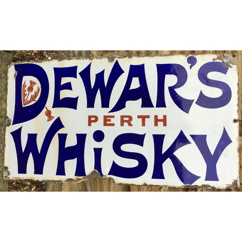53 - DEWARS PERTH WHISKY ENAMEL SIGN. 30 x 16ins. Simple stylish lettering with two inset thistles. Outer...