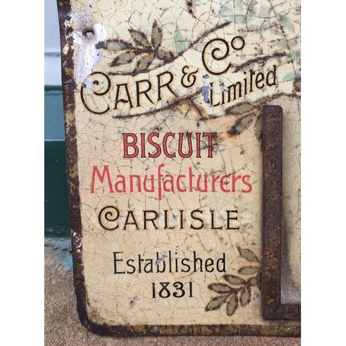 54 - CARR & CO CARLISLE PRINTED TIN PERPECTUAL CALENDAR 17 x 10.8ins. Attractive multicoloured image & ve...