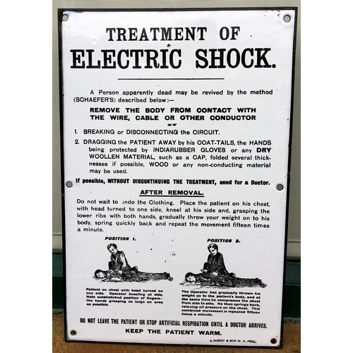 55 - ELECTRIC SHOCK ENAMEL SIGN. 10 x 15ins. An absolutely screaming mint, small size, original sign - on...