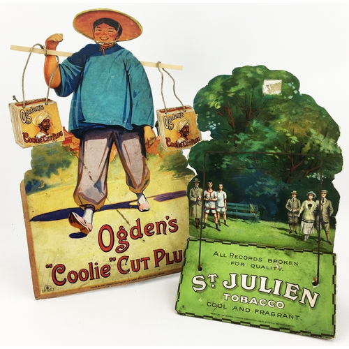 8 - CIGARETTE STAND UP CARD ADVERTISEMENTS. Tallest 11.8ins. One for St Julien, the other for Ogdens Coo...