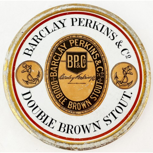 16 - BARCLAY PERKINS & CO DOUBLE BROWN STOUT BEER COASTER. 5.7ins diam. Beer label to centre with anchor ...