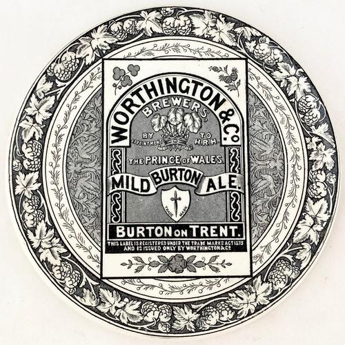 18 - WORTHINGTON & CO MILD BURTON ALE. 6.2ins diam. Striking highly detailed foliate black transfer with ...