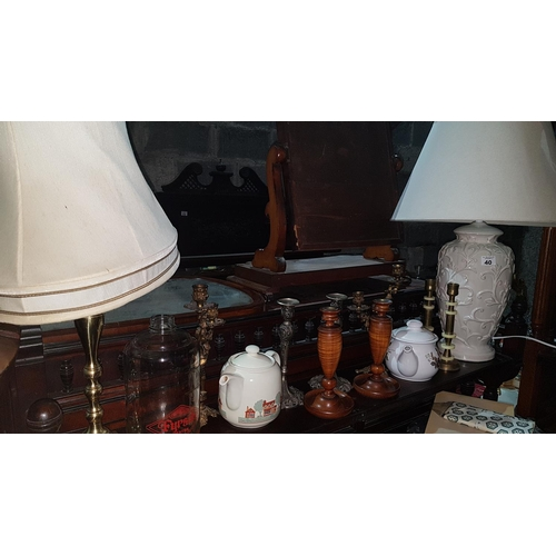 41 - A good Table Lamp along with another also a good quantity of vintage Candlesticks timber and brass. ...