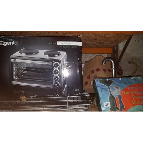 14 - An as new 28 litres Elegans Oven, an as new cover for Gas patio Heater and other items along with a ...