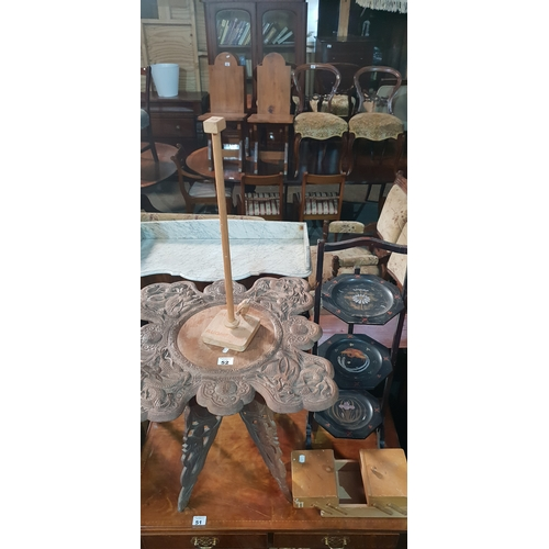 52 - Sold on behalf of Charity. A group of Timber items to include Two tables, A Game, Soing Box and a Ca...