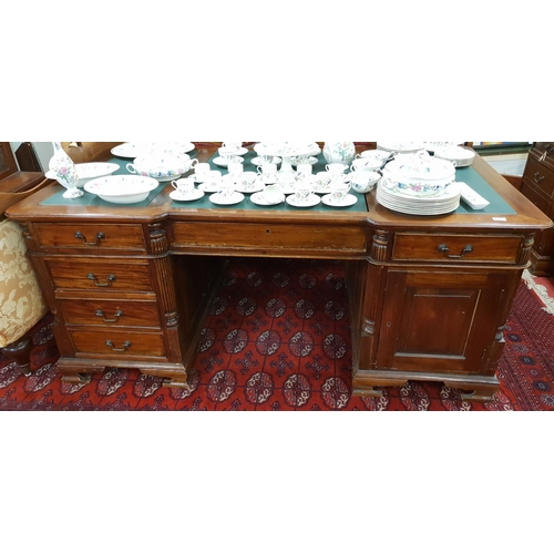 25 - A reproduction Partners Desk in the 19th Century style....