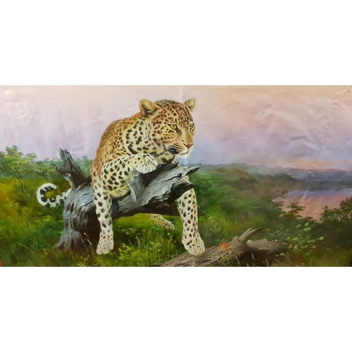 36a - An Extremely large Oil on canvas of a Leopard on a Stump signed P A K or P O K lower left. 180 x 123...