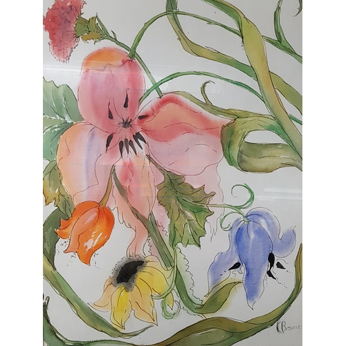 7 - A Still Life Watercolour of flowers.Signed Brown,LR....