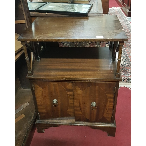 51 - A modern two door Side Cabinet along with a Mirror and Mahogany Nest of Tables....