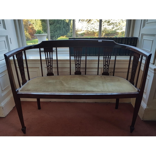 1 - LIBRARY - An Edwardian Mahogany Inlaid Two Seater Couch with cream upholstery. W 104cm....