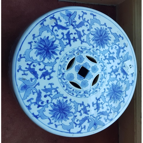 12 - An Oriental Porcelain Plant Stand with pierced outline....