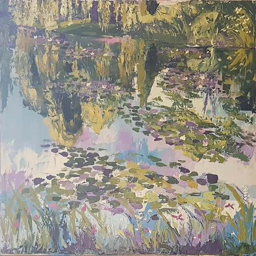 14 - A very large Oil on Canvas by Rys Mac 'Reflections of G'. (Giverny) 100 x 99cm....