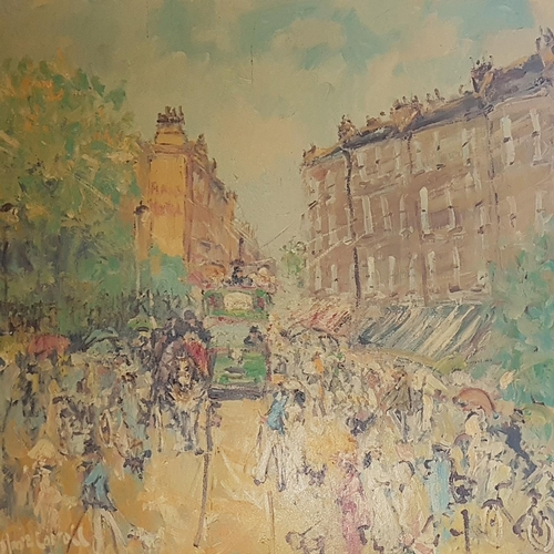 9 - A very large Oil on Canvas of a Street Scene by Marie Carroll. Signed LR. 100 x 99cm....