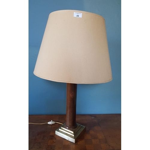 25 - A pair of 20th Century Timber Table Lamps along with the other items on the table....