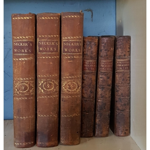 52 - Three Volumes of the works of John Secker. MDCCLXXV along with three Volumes of 'The English Preache...
