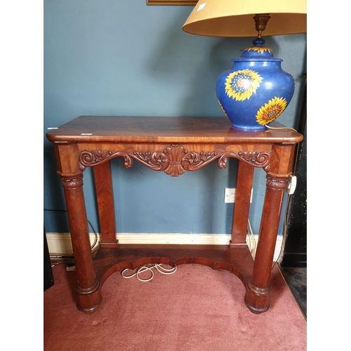 16 - A fantastic William 1Vth Mahogany Side Table with carved centre hexagonal and turned supports on a p...