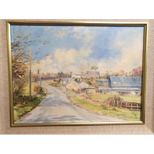 24 - A 20th Century oil on canvas by Colin Turner of a country village....