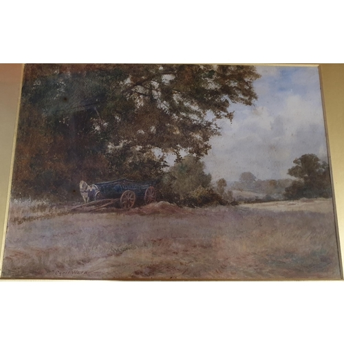 5 - A 19th Century watercolour of a horse and cart in a field....