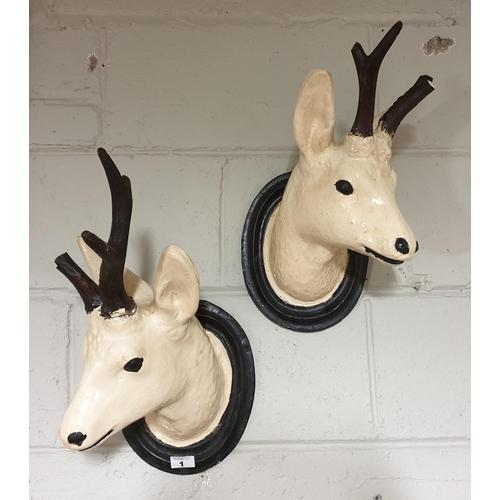 1 - A pair of 19th Century Plaster wall mounted Deer Advertisements....