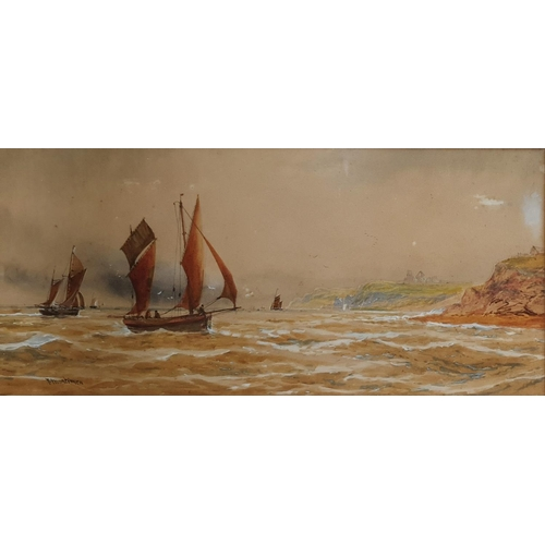 52 - A 19th Century Watercolour by F Mortimer. Highlighted in white. 69 x 42cm....
