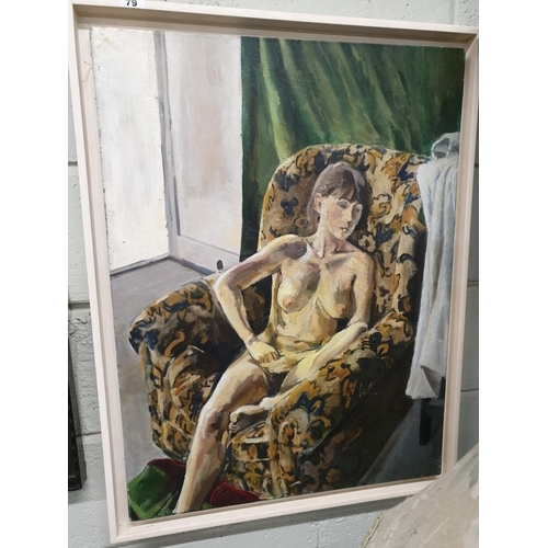 79 - A large Oil on Canvas of a naked Female relaxing on a chair by P Brennan....