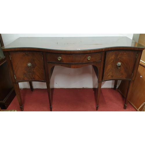 85 - A 19th Century Serpentine fronted Sideboard on tapered supports with ebony inlay.Size W 152 x d 59 x...
