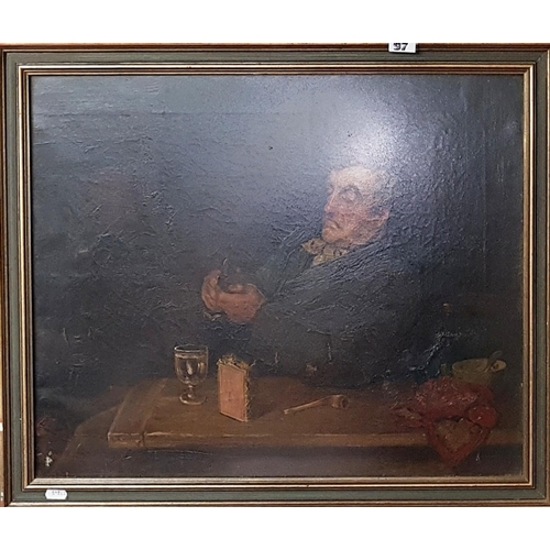 97 - A 19th Century Oil on Board of an elderly Gentleman peeling fruit and drinking a glass of wine....