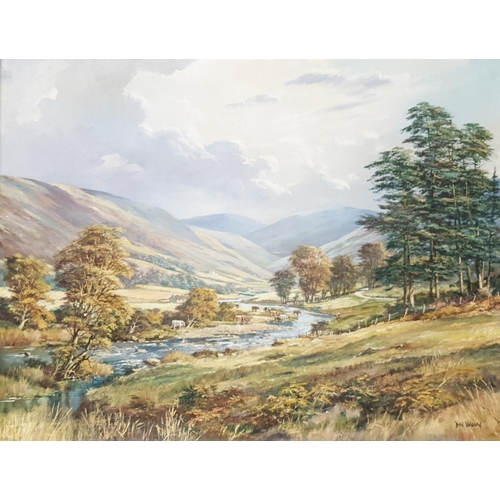 99 - An Oil on Canvas by Don Vaughan of a River valley with cattle watering. Signed LR. 75cm x 100cm. Fra...