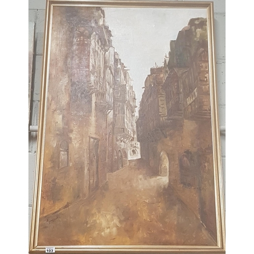 103 - A large Oil on Canvas by Amen Mohamed Hussein of a street scene in Baghdad exhibited in the Saddam N...