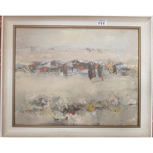 111 - A pair of Oils on Board exhibited in the Saddam Gallery in Baghdad. Teacher Art, Jeddah & Baghdad, w...