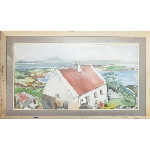 112 - A large Watercolour of a Tin Roof Cottage. Signed Gregory........LL....