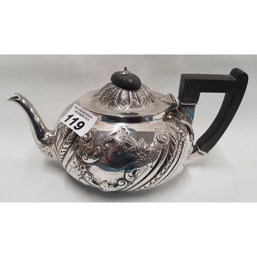 119 - A Silver Teapot with etched and moulded outline marks rubbed. 332 grams....