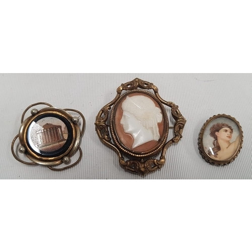 140 - A miniature Portrait Brooch of a young Female monogrammed EK along with a micro mosaic style brooch ...
